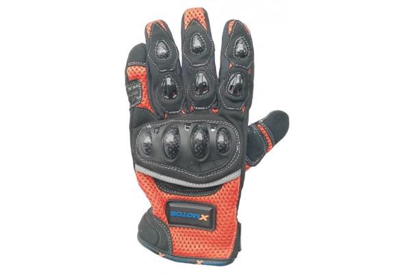 Moto rukavice XMOTOS pro dospělé - černo/oranžové