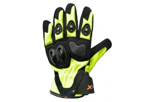 Moto rukavice XMOTOS dětské - černo/zelené