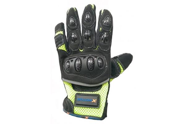 Moto rukavice XMOTOS pro dospělé - černo/zelené